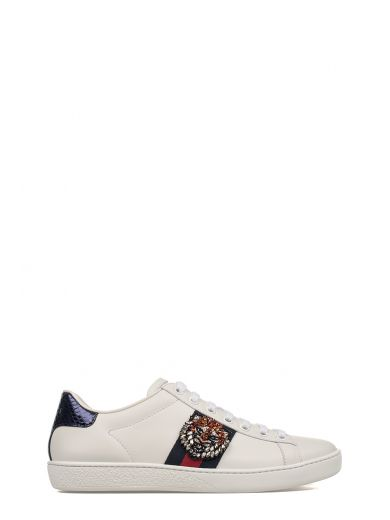 White/red/blue Tiger Embroidery Ace Leather Sneakers