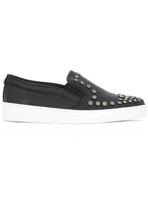MICHAEL MICHAEL KORS Studded Leather Slip-On Sneakers in Black