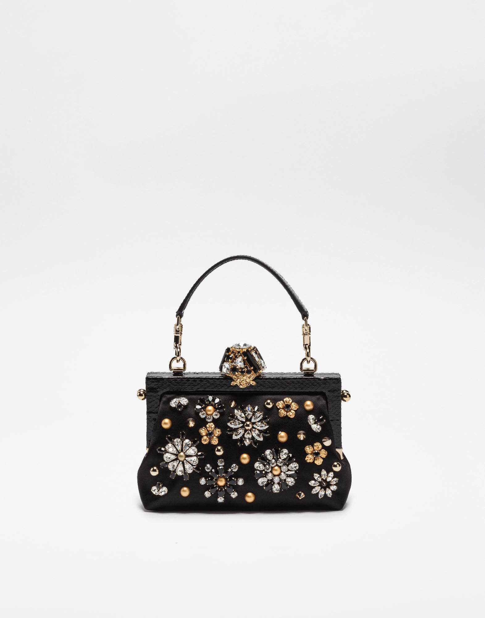 Dolce & Gabbana Chian bags VANDA SATIN CLUTCH WITH JEWEL APPLICATIONS