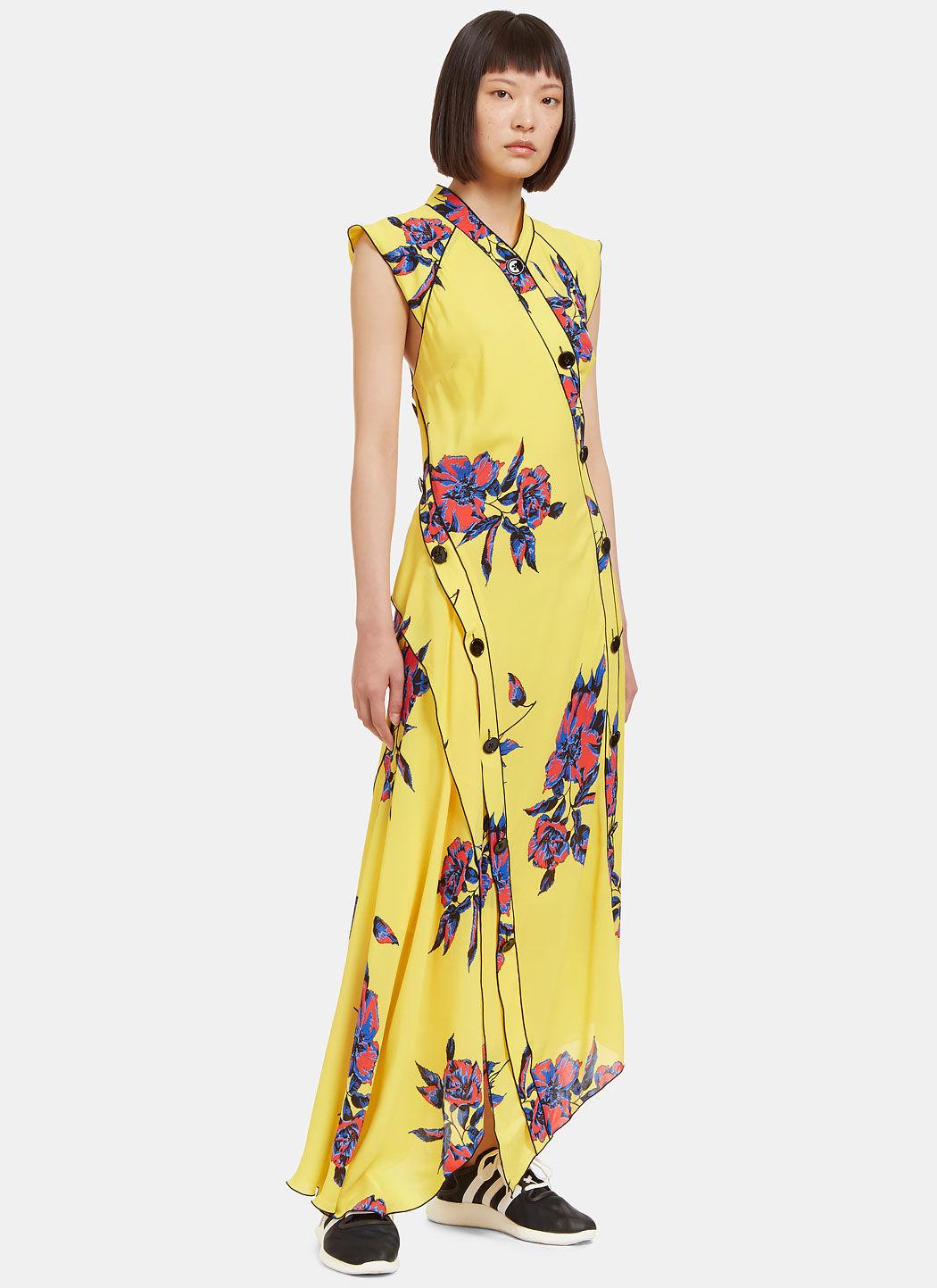 Proenza Schouler Silks Women's Long Lily Print Asymmetric Frilled Dress in Yellow