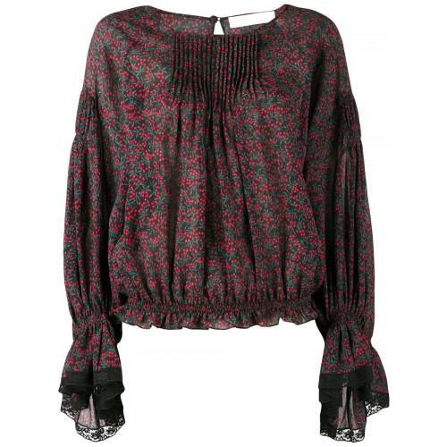 Chloé Cottons printed lace-trim blouse
