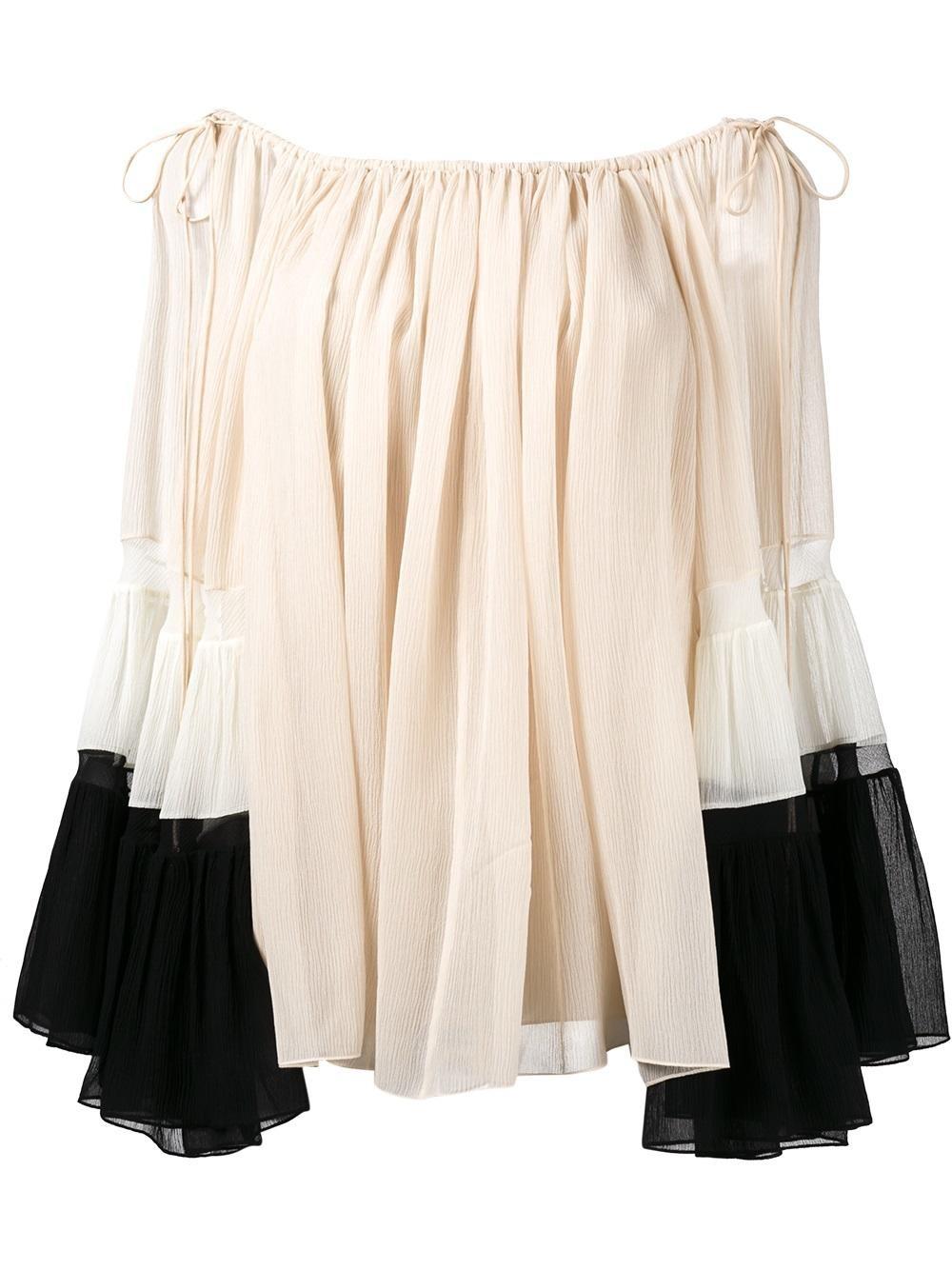 Chloé Silks draped off-shoulder blouse