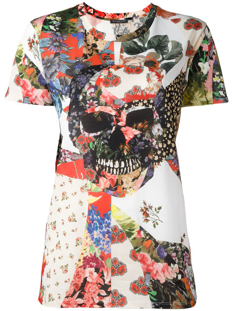 White Floral Skull Classic T-Shirt