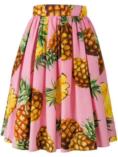 DOLCE & GABBANA Pineapple-Print Cotton Skirt