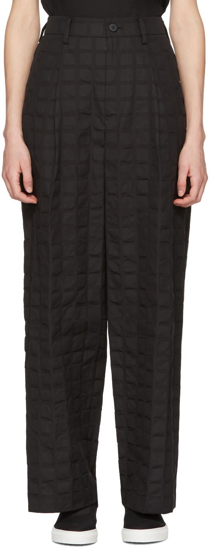 Black Crumpled Grid Trousers