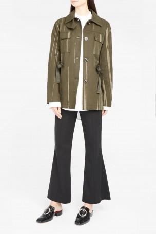 Proenza Schouler Cottons Paint-Print Military Jacket