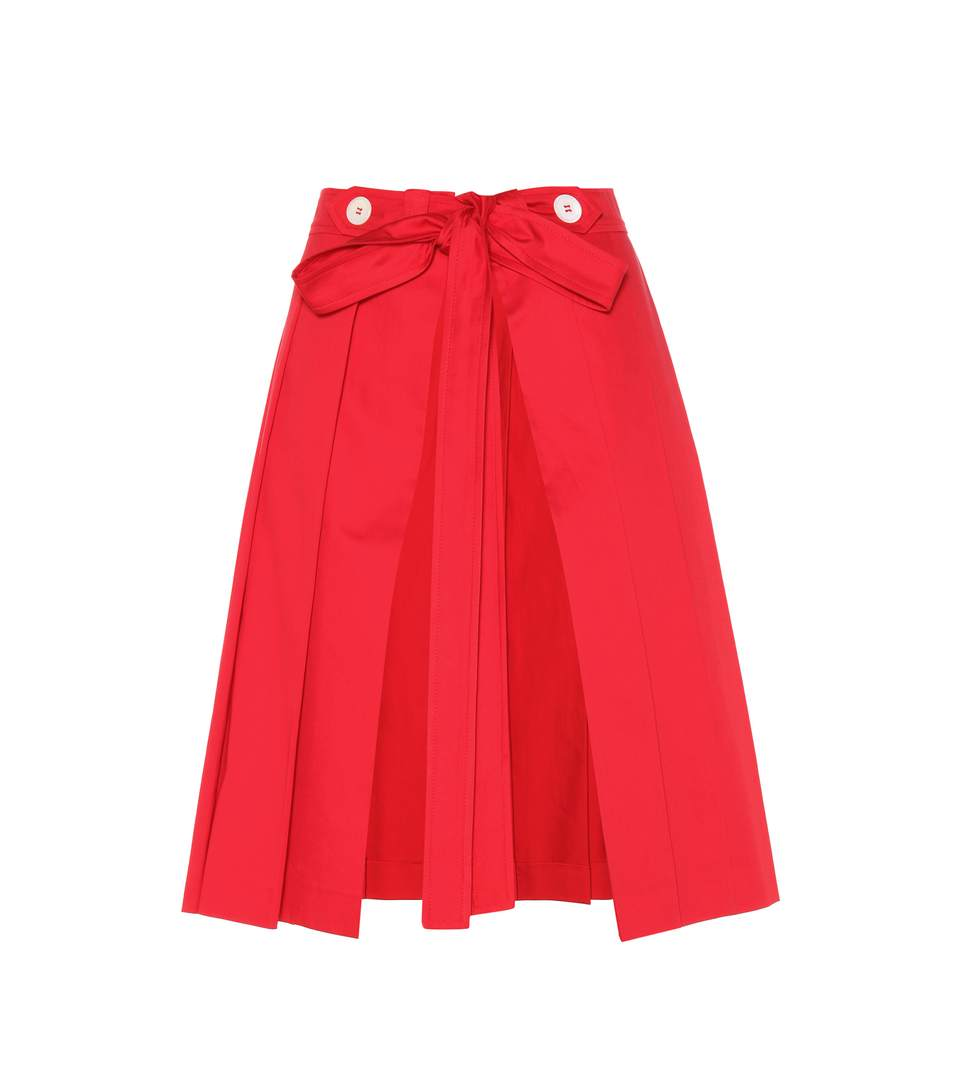 MIU MIU PLEATED COTTON SKIRT, RED