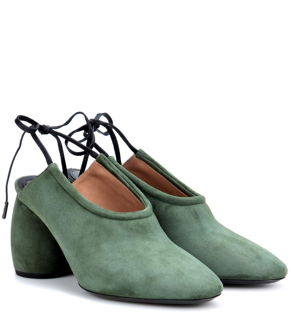 Suede sling-back pumps
