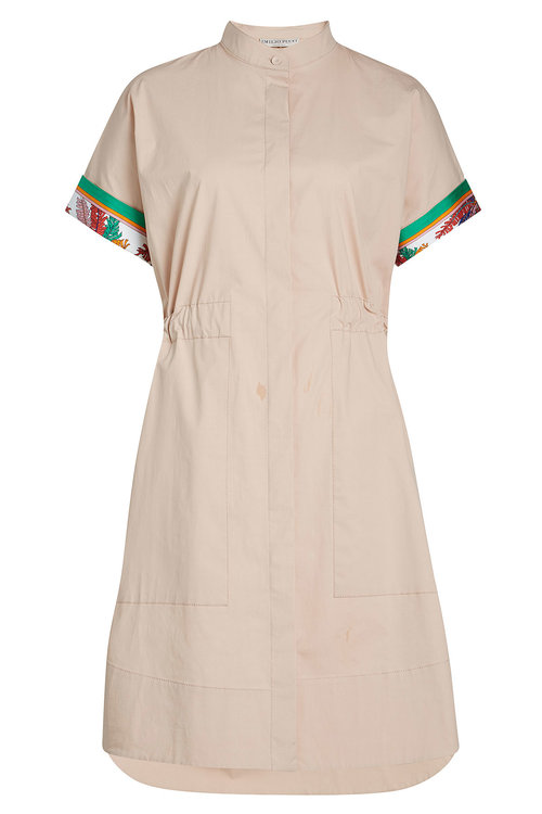 EMILIO PUCCI COTTON DRESS WITH PRINTED DETAIL, CAMEL
