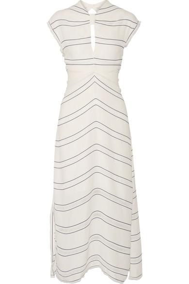 Proenza Schouler Silks Tie-back cutout striped crepe midi dress