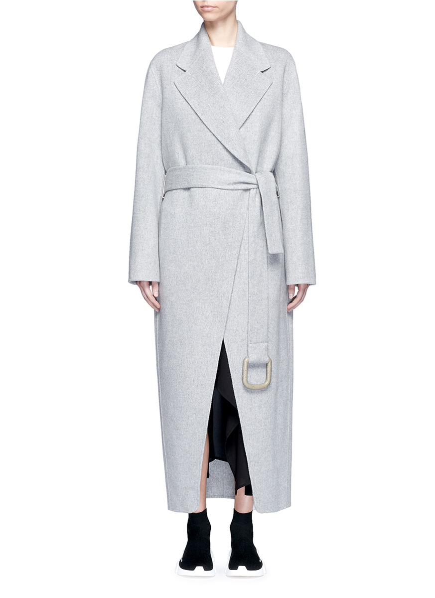 'Lova' belted long wool-cashmere felt coat