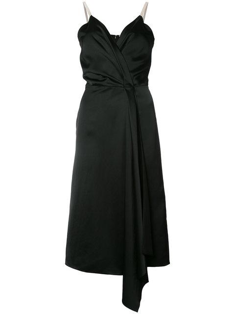 Victoria Beckham Heavy Fluid Silk Wrap Dress, Black