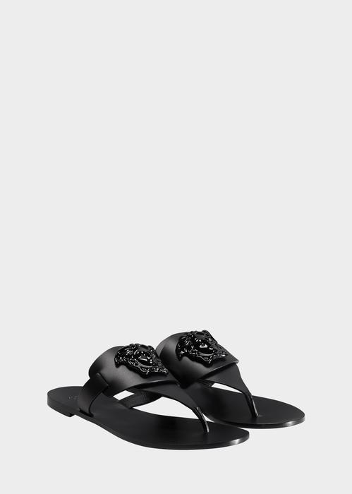 Versace Palazzo Flat Thong Sandals, Black