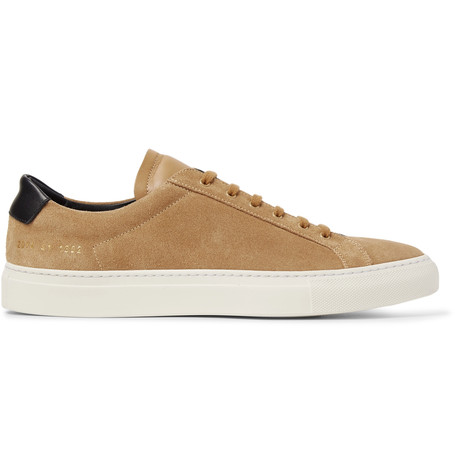 ACHILLES RETRO LEATHER-TRIMMED SUEDE SNEAKERS