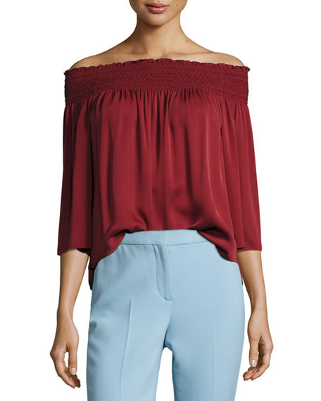 Theory Silks ELISTAIRE OFF-THE-SHOULDER MODERN GEORGETTE TOP