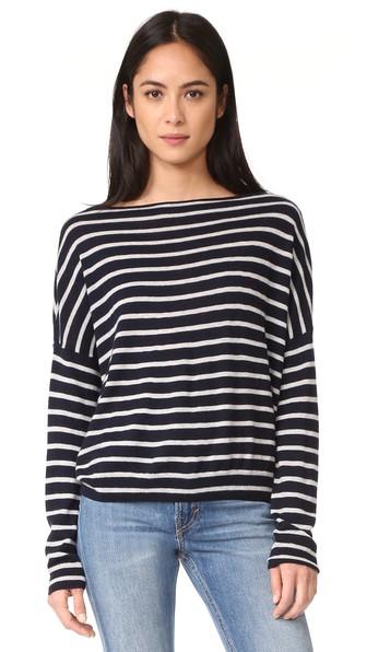 Vince Cashmeres Skinny Stripe Boatneck Sweater