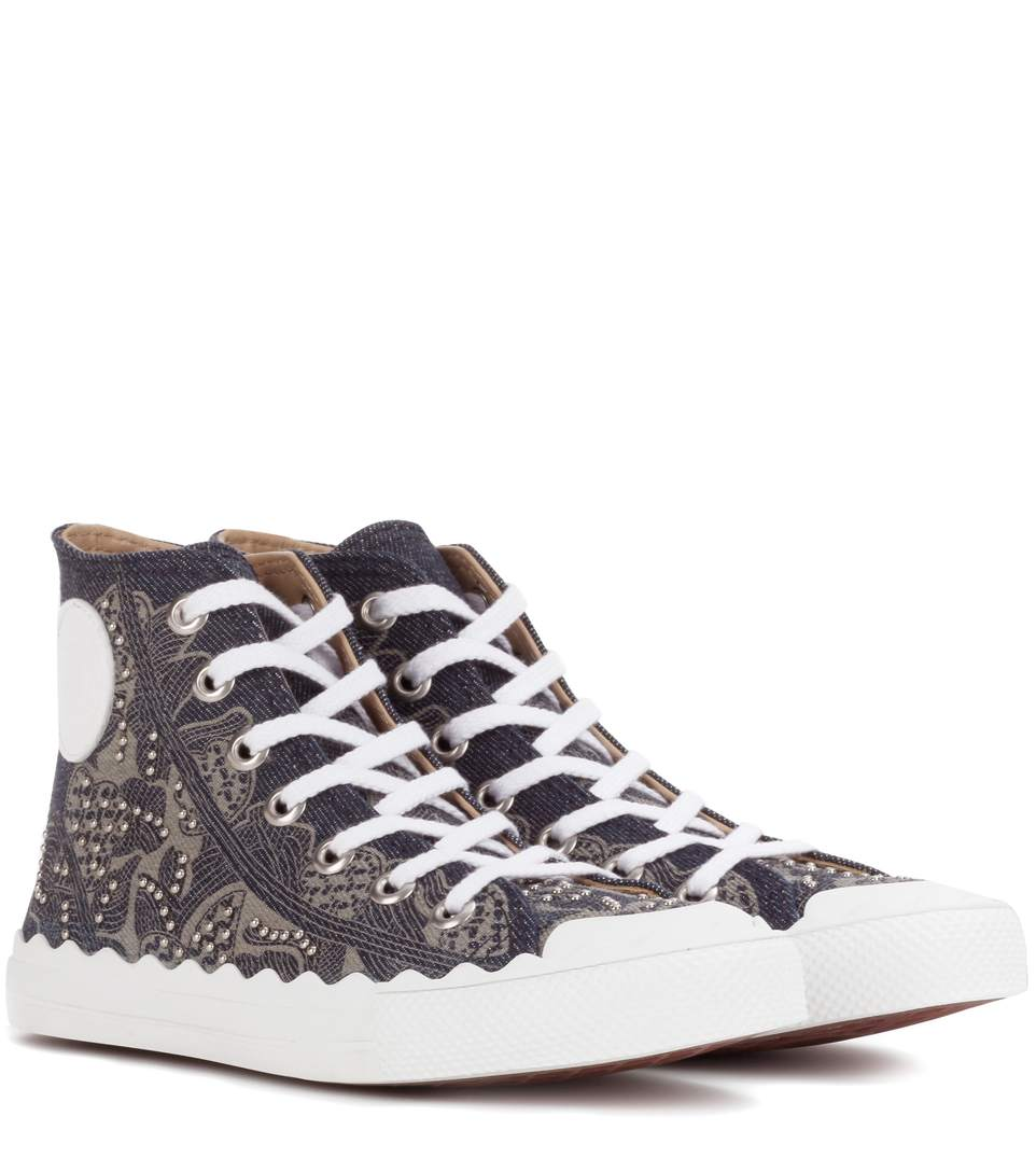 Embellished high-top sneakers