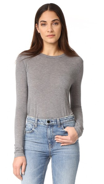 T By Alexander Wang Classic Cropped Long Sleeve Tee, Heather Grey