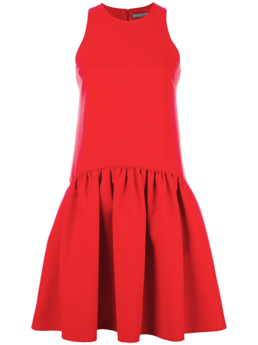 ALEXANDER MCQUEEN SLEEVELESS FLORAL-EMBOSSED DRESS, RED