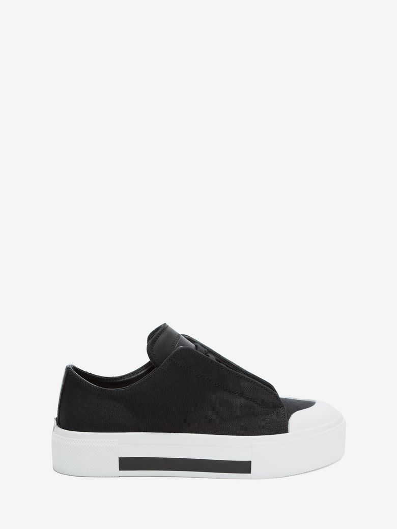 ALEXANDER MCQUEEN Canvas & Leather Low-Top Sneakers in Black White