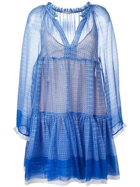 STELLA MCCARTNEY SHEER METALLIC STAR PRINT DRESS, BLUE