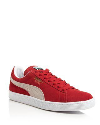 PUMA MEN'S CLASSIC SUEDE LOW-TOP SNEAKERS, RED, HIGH RISK RED/WHITE