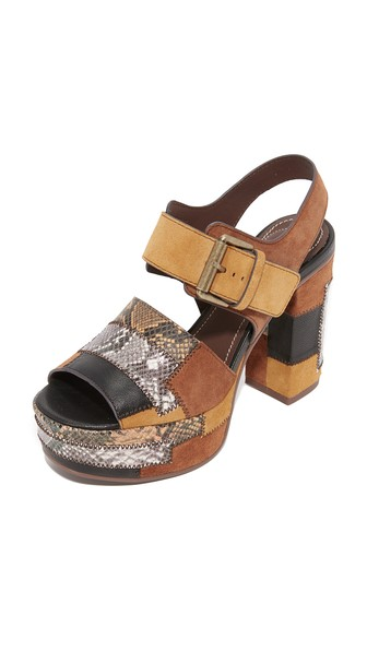 Patchwork snake-effect leather and suede platform sandals