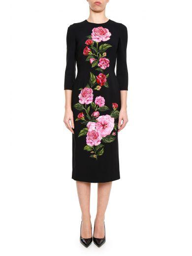 Dolce & Gabbana Silks Rose Print Dress