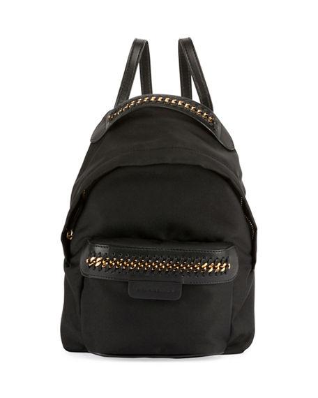 Beige Faux Leather And Nylon Falabella Mini Back Pack
