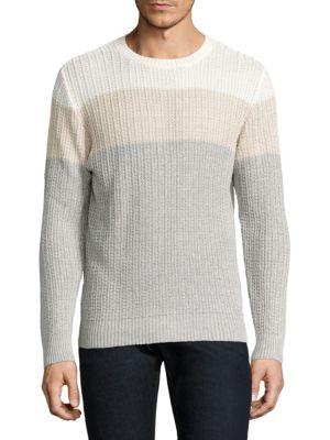 Eleventy Linens Colorblock Cotton & Linen Rib-Knit Sweater