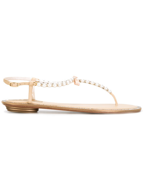 pearled T-bar sandals