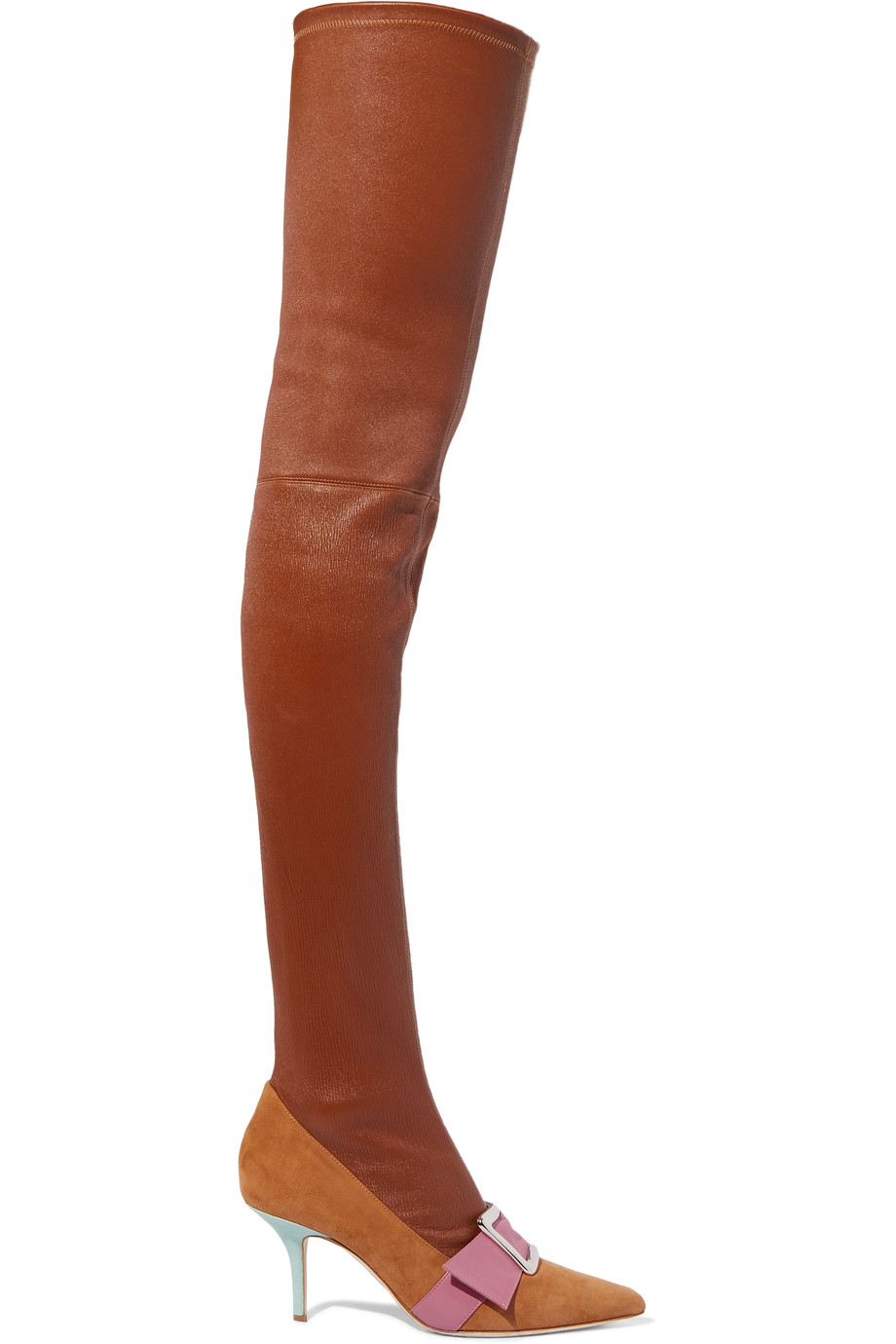 MALONE SOULIERS + Adam Lippes Emma Buckled Leather And Suede Over-The-Knee Boots