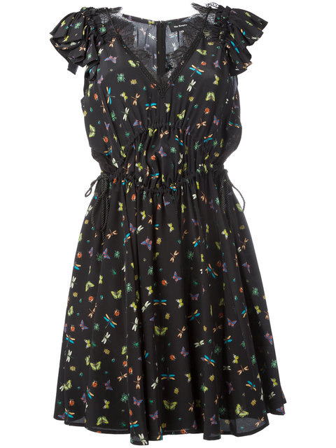 Printed Silk Dress with Lace