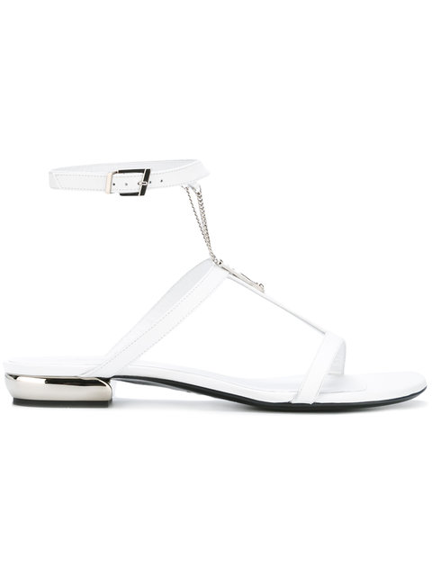 SHOES WHITE FLAT SANDAL WITH CHAIN - WHITE