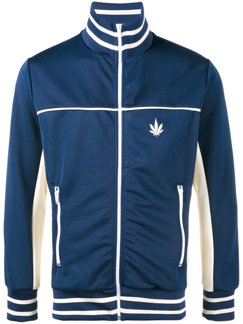 PALM ANGELS Cannabis Leaf Print Contrast Track Jacket