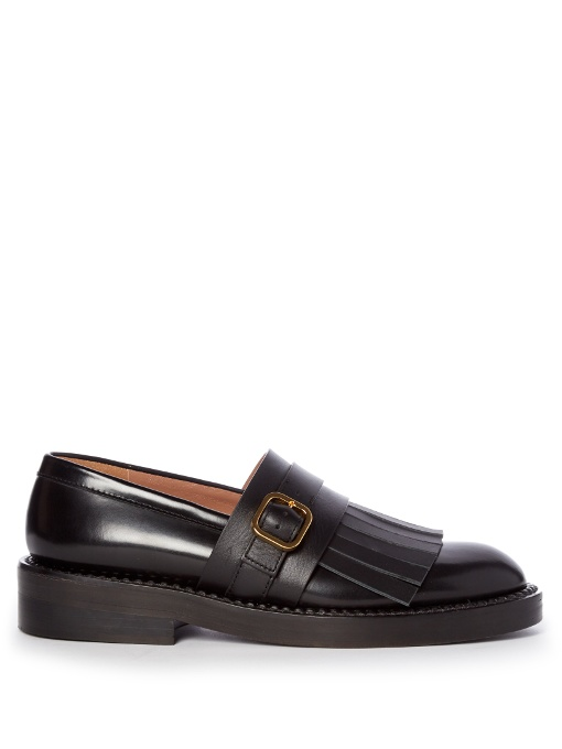 Women's Fringed Leather Moccasins in Black