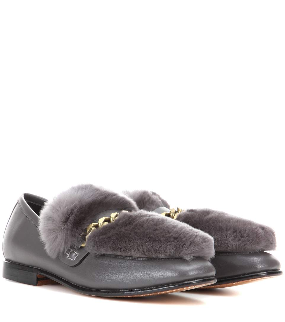 Loafur leather and fur loafer