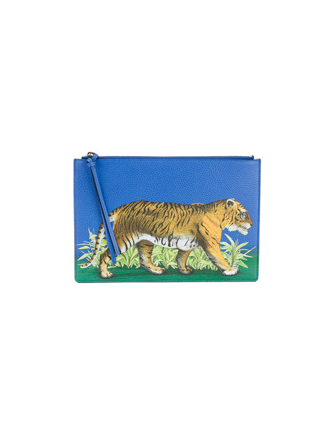 Tiger print leather pouch