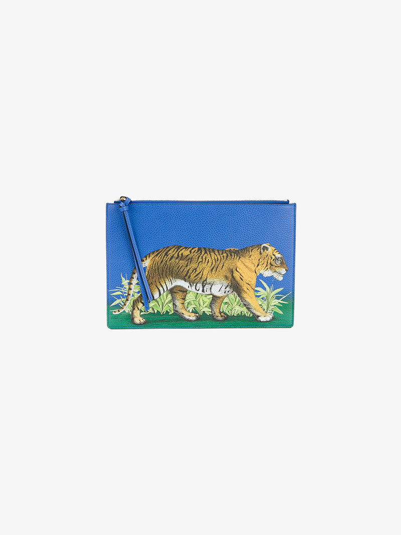 GUCCI TIGER PRINT LEATHER POUCH, BLUE LEATHER