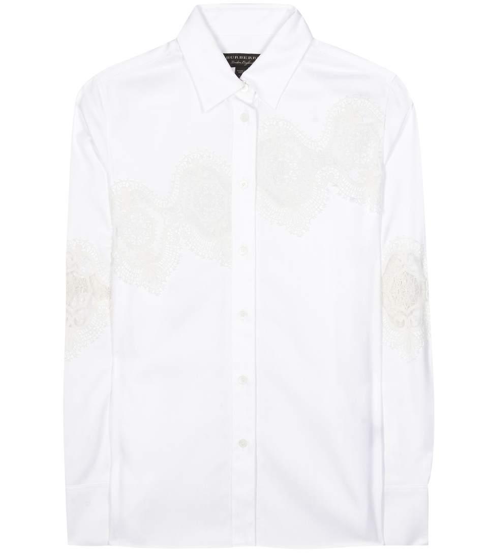 Lace Cutwork Herringbone Cotton Shirt