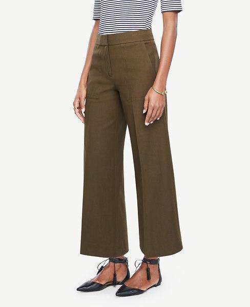 ANN TAYLOR The Petite Wide Leg Marina Pant in Camo Green
