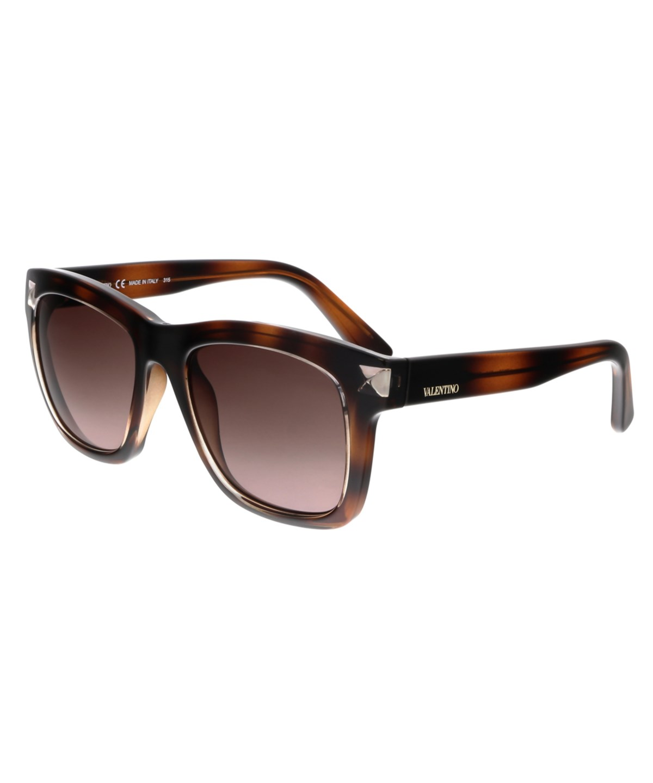 VALENTINO Glossy Square Tortoise-Print Acetate Sunglasses, Vintage Havana