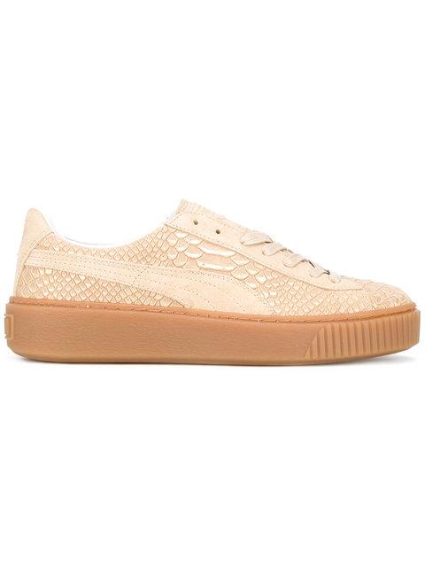 Textured Leather Creeper Sneakers
