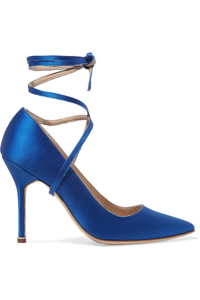 Women's Manolo Blahnik Ankle Tie Stiletto Heeled Pumps in Blue