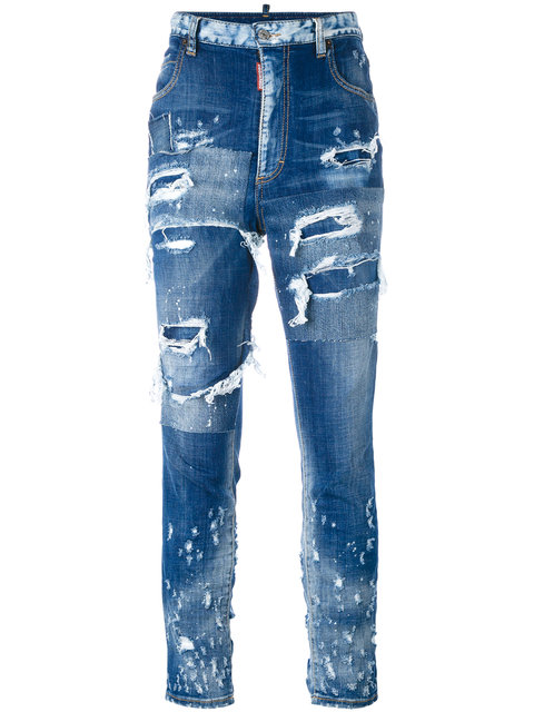 Tomboy patchwork distressed jeans
