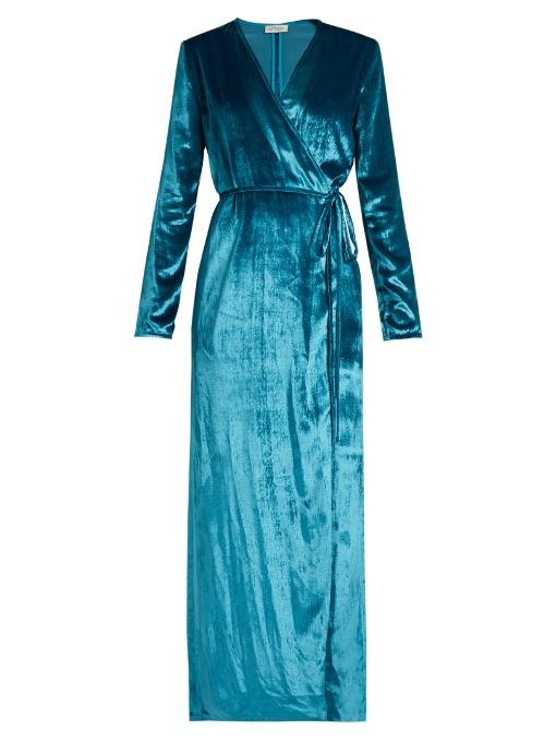 Blue 'Racquel' Velvet Wrap Dress
