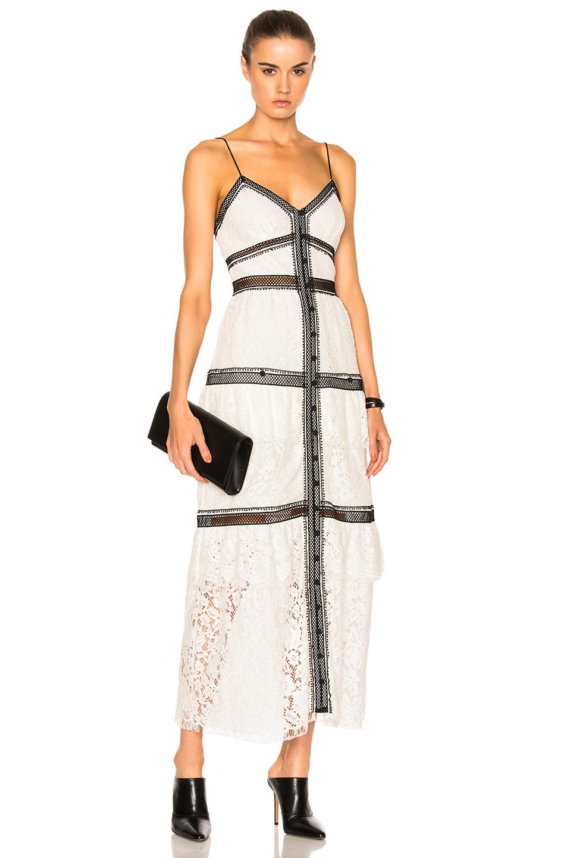 Self Portrait Black Trim White Lace Maxi Dress Modesens