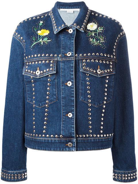 Studded Embroidered Denim Jacket