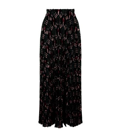 SKIRT LONG SKIRT IN CRÊPE DE CHINE WITH PLISSÉ AND LOVE BLADES PATTERN