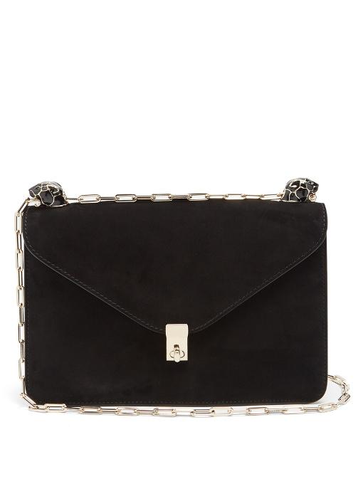 Panther-embellished suede shoulder bag